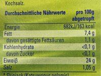 Thunfisch in Olivenöl - Nährwertangaben - de