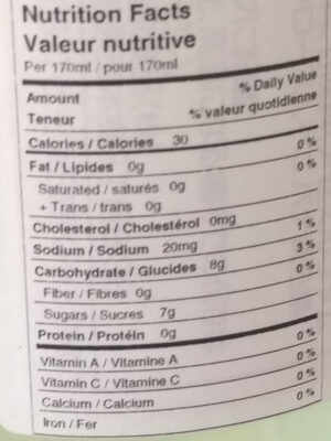 Yuzo Cider - Nutrition facts - en