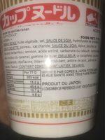 Nissin Cup Noodles Beef 77G - Ingrédients - fr