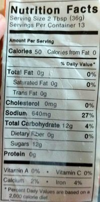 Okonomi Sauce - Nutrition facts