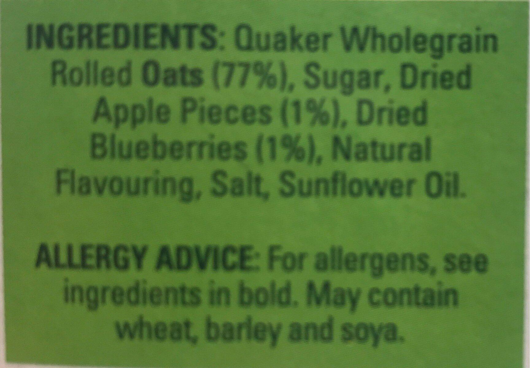 Quaker Oats So Simple Apple And Blueberry Porridge 10X36g - Ingrédients