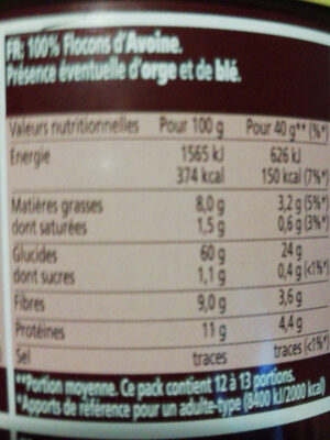 Flocons d'avoine (40g) - Valori nutrizionali - it