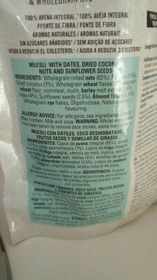 Date & Coconut Muesli - Ingredientes - es