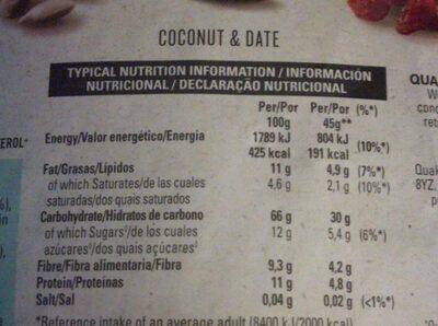 Date & Coconut Muesli - Informação nutricional - es