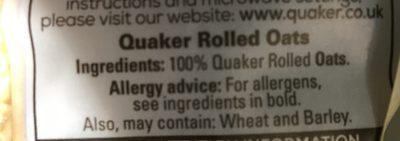 Quaker Traditional Oats 500G Bag - Ingrédients