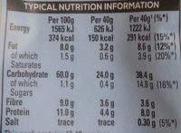 Quaker Traditional Oats 500G Bag - Informations nutritionnelles