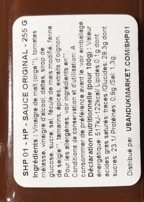 Original HP Sauce - Ingredients