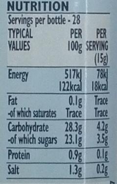 Original HP Sauce - Nutrition facts - en