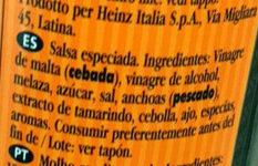 Worcestershire sauce - Ingredients - es
