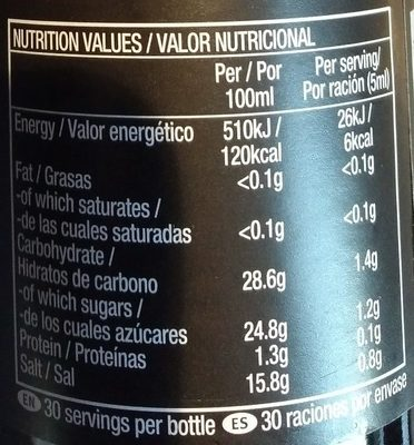 Amoy Dark Soy Sauce 150ml - Nutrition facts