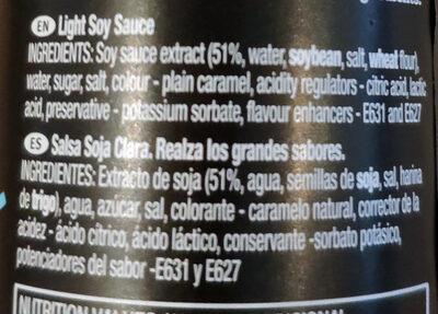 Light Soy Sauce - Ingrédients - en