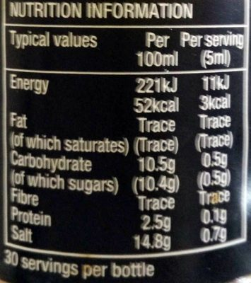 Soy sauce light 173 g - Nutrition facts