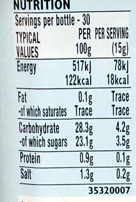 HP Sauce - Informations nutritionnelles
