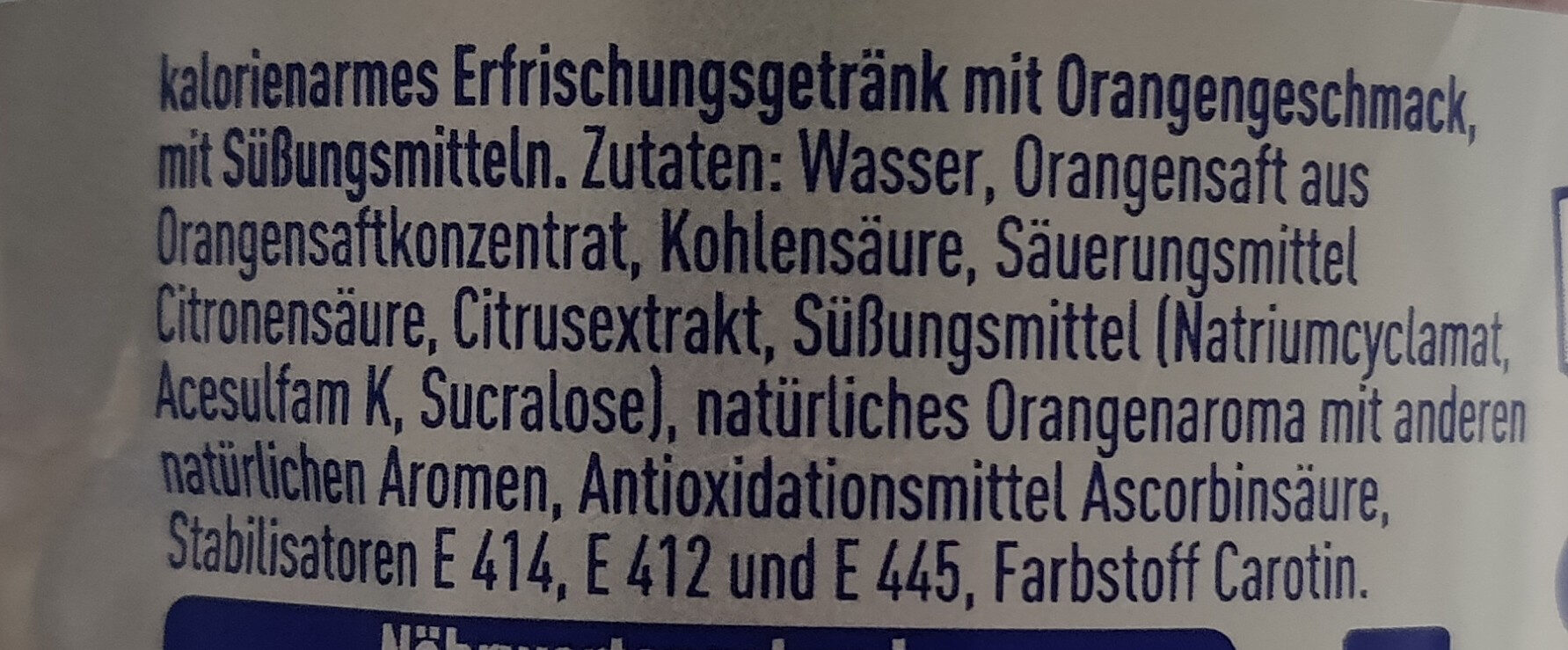 Fanta Orange ohne Zucker - Ingrédients