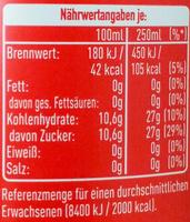 Coca-Cola Classic - Informations nutritionnelles