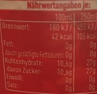 Coca Cola - Nutrition facts - de