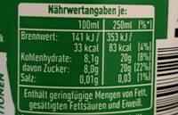 Zitrone, Limonade, Pet - Información nutricional - fr