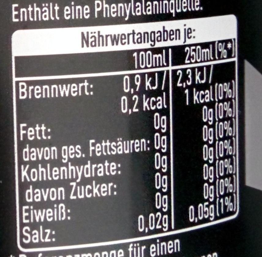 Coca-Cola zero - Informations nutritionnelles - de