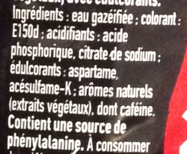 Coca-Cola Zero - Ingredients