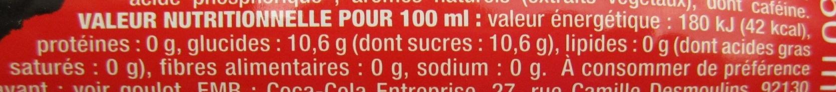 DAVID GUETTA feat Coca Cola - Valori nutrizionali - fr