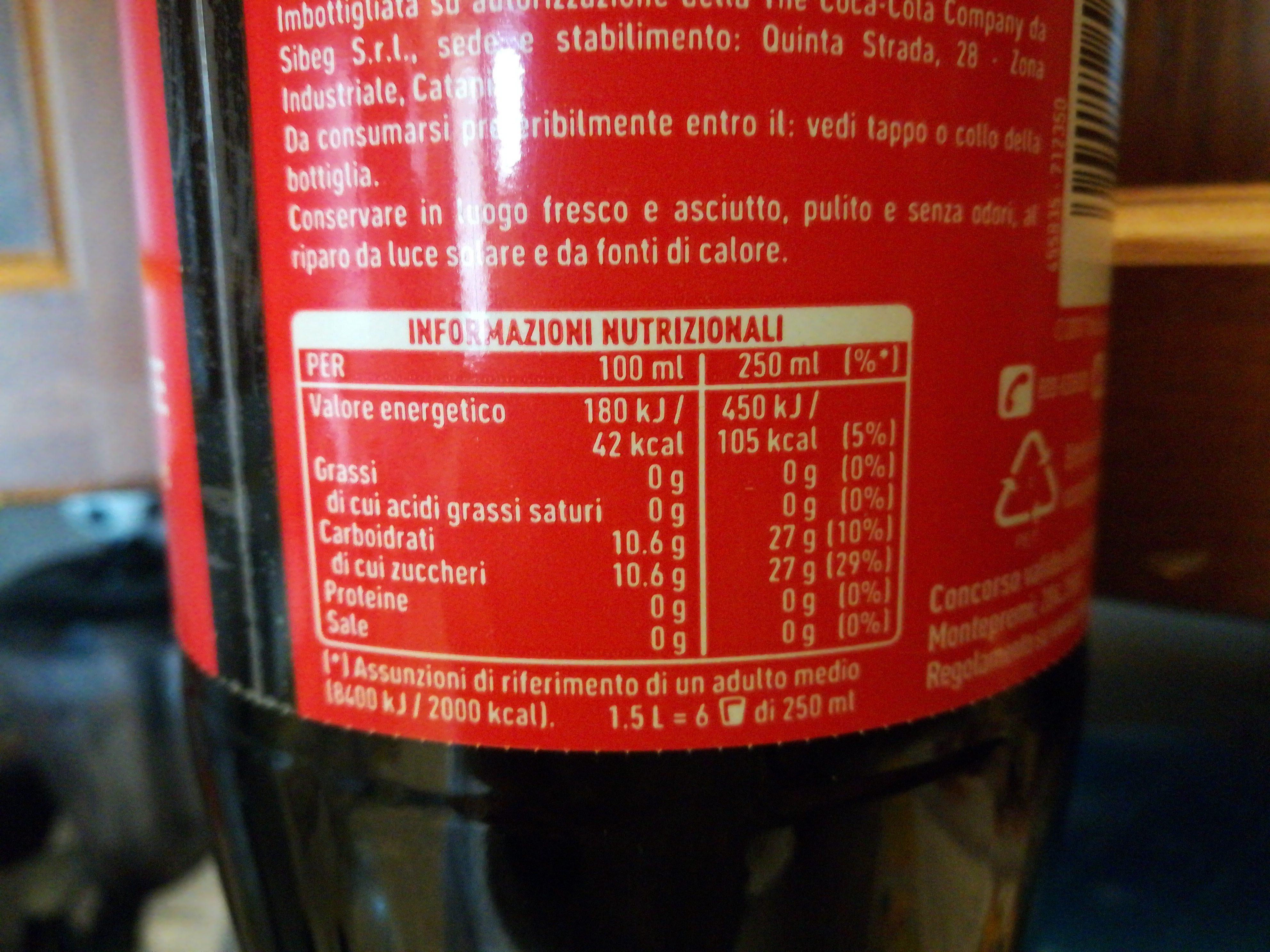 Coca Cola ORIGINAL taste - Informazioni nutrizionali