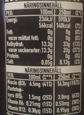 Burn Energy Drink Original - Nutrition facts - sv