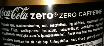 Coca-Cola Zero sugar Zero Caffeine - Ingredients - nl