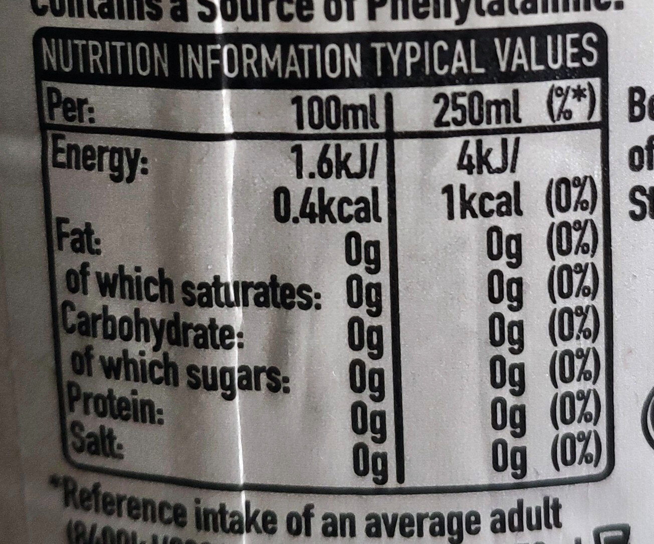 Diet Coke - Informations nutritionnelles - en
