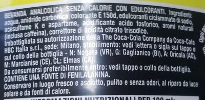 Coca Cola Zero Nutrition Ingredients Coca Cola Zero