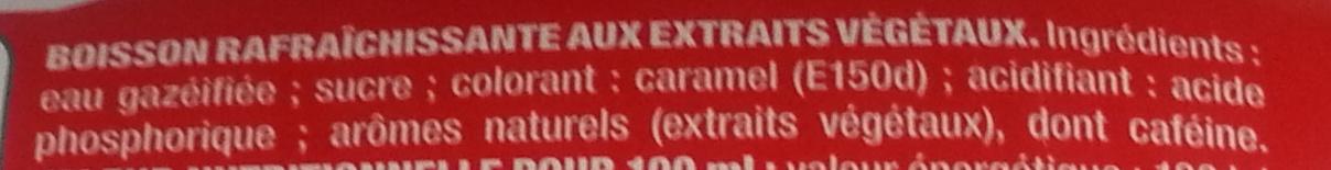 Coca-Cola Collector 2013 - Ingredients - fr