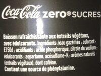 Coca-Cola zéro sucres - Ingrédients - fr