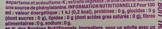 Light - Boisson rafraîchissante aux extraits végétaux, avec édulcorants - Nutrition facts - fr