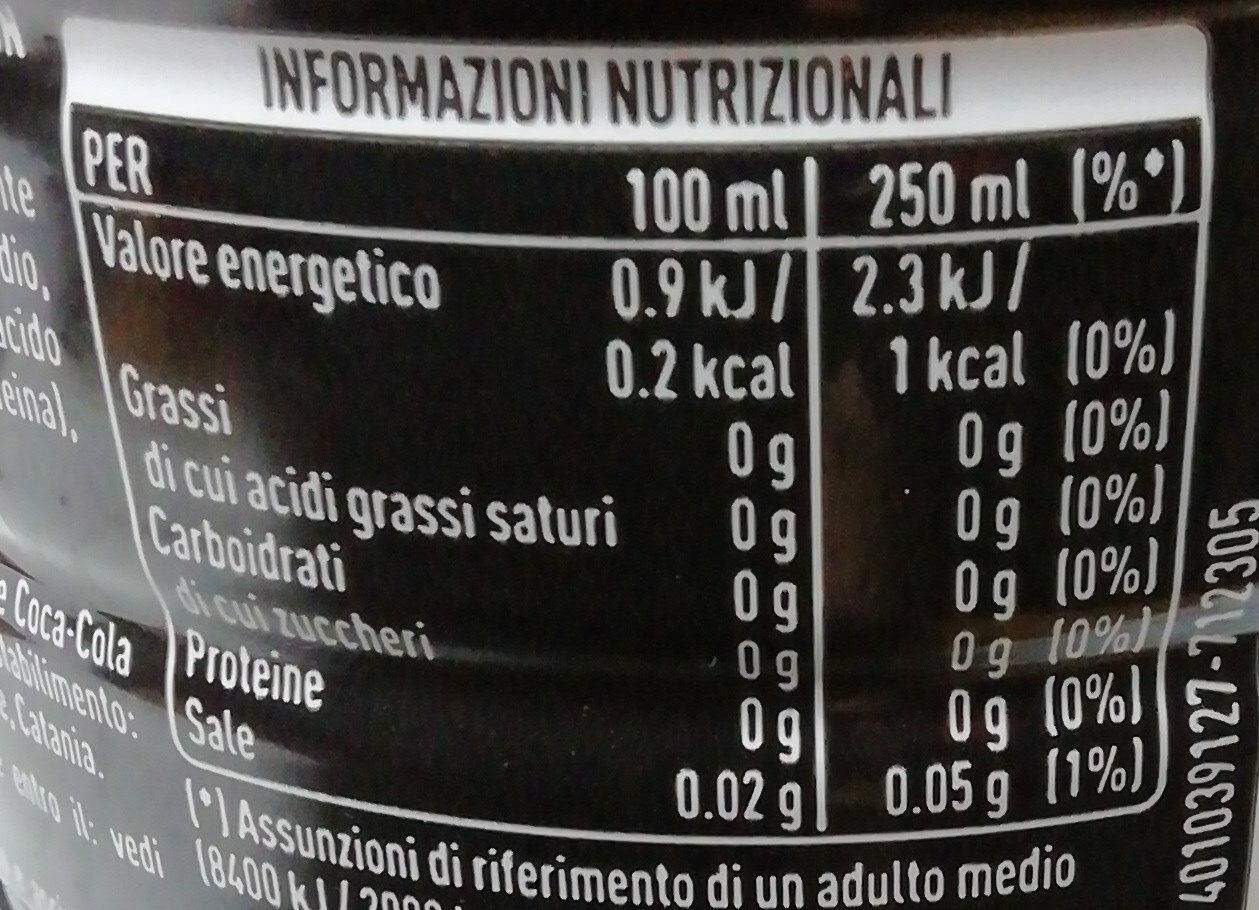 Bevanda a alcolica senza calorie con edulcoranti - Informations nutritionnelles