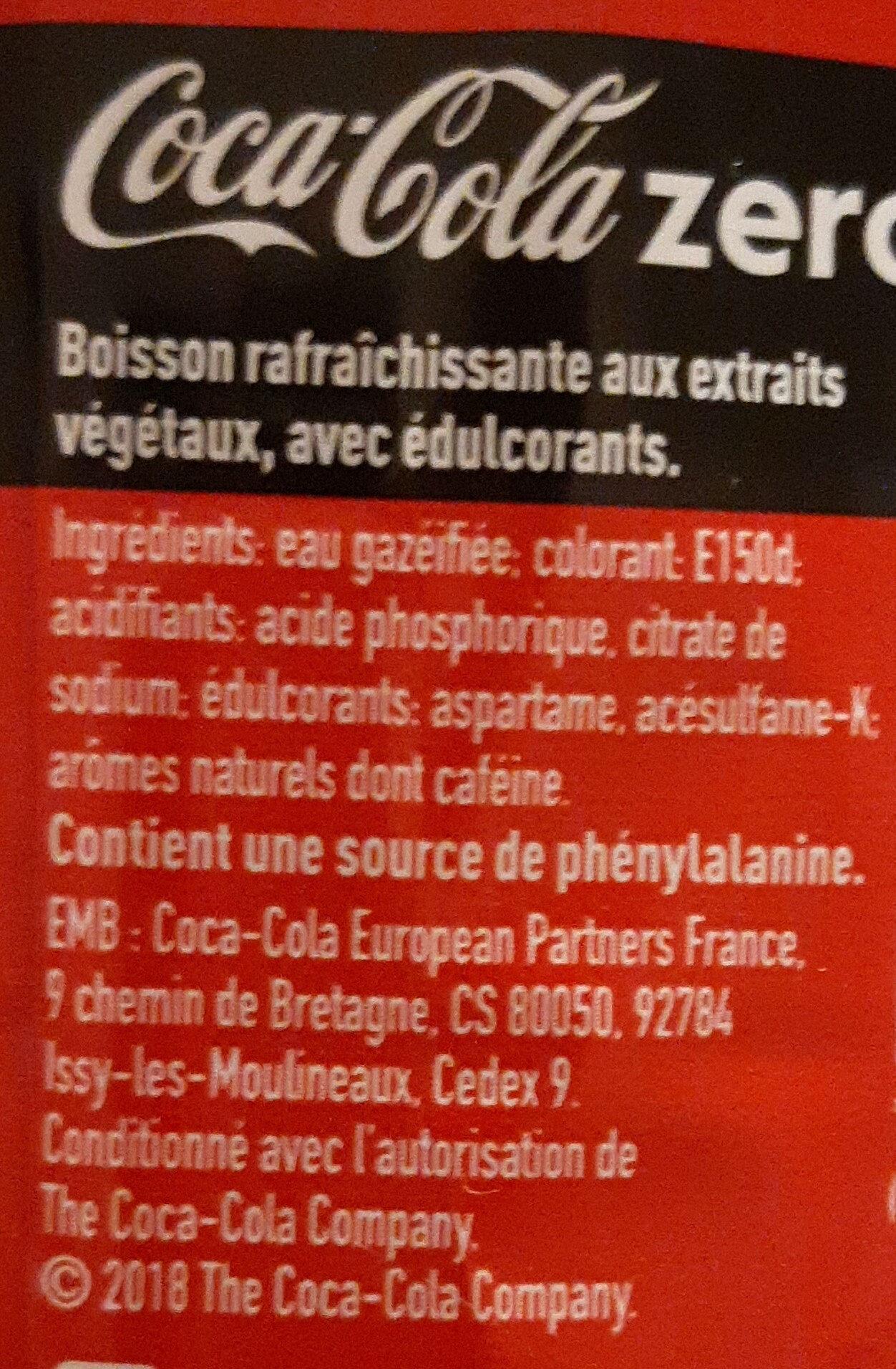 Coca-Cola zero® sans sucres - Ingredients - fr