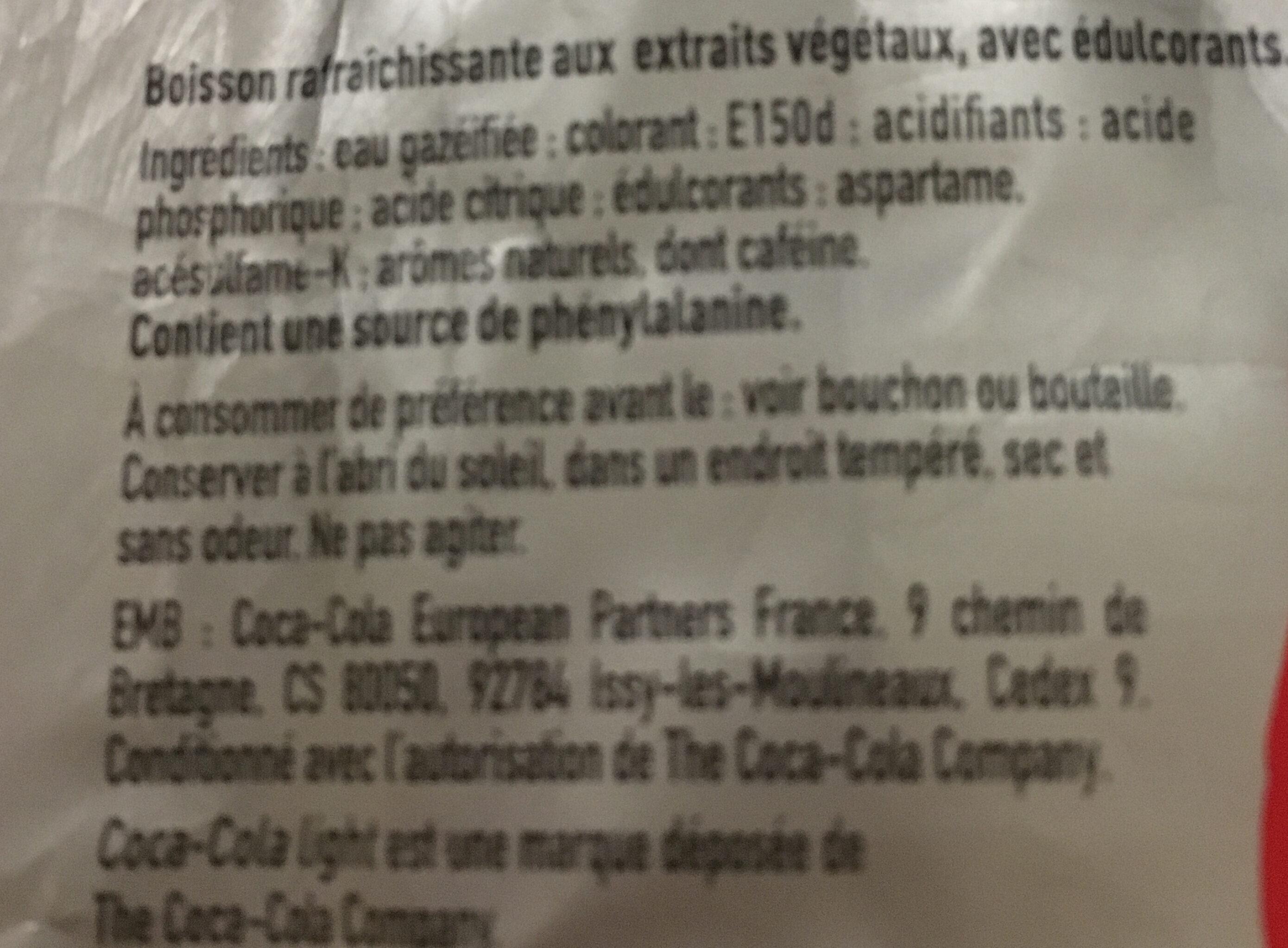 coca cola light taste - Ingredients - fr