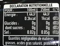 Euro 2016 - Boisson rafraîchissante zéro calorie zéro sucres - Valori nutrizionali - fr