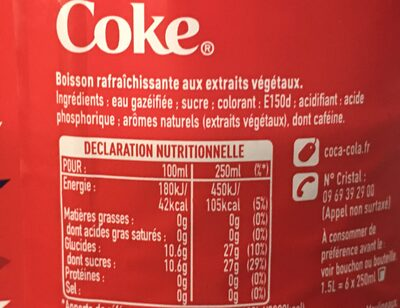 Boisson gazeuse - Coca cola - Ingredienti