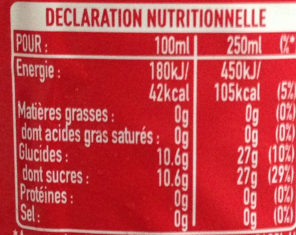 Boisson gazeuse - Coca cola - Valori nutrizionali - fr