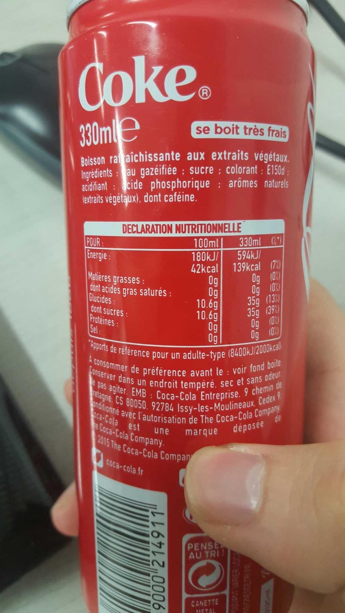 Lot de 30 Canettes Slim Can de Coca Cola - Ingredienti - fr