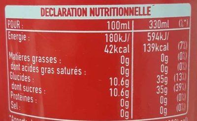 Lot de 30 Canettes Slim Can de Coca Cola - Valori nutrizionali - fr