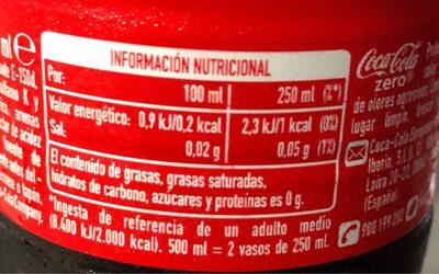 Coca Cola Zero Azúcar - Voedigswaarden