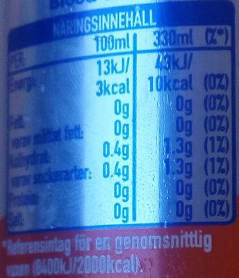 Fanta Blood Orange zero sugar - Valori nutrizionali - sv