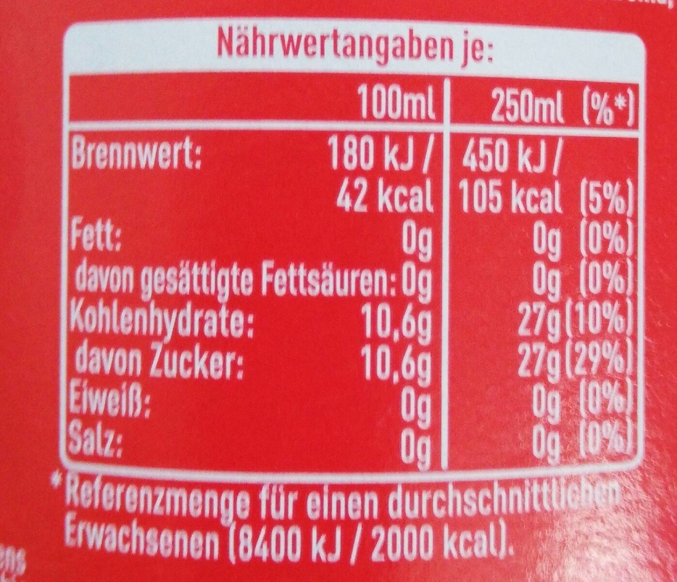 Coke - Nutrition facts - de