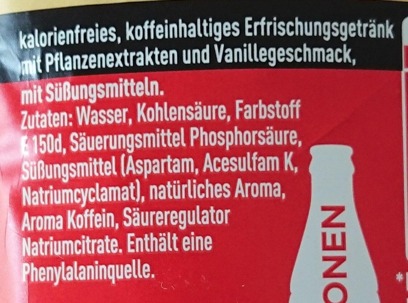 Coca cola zero sugar vanilla - Ingredienti - de