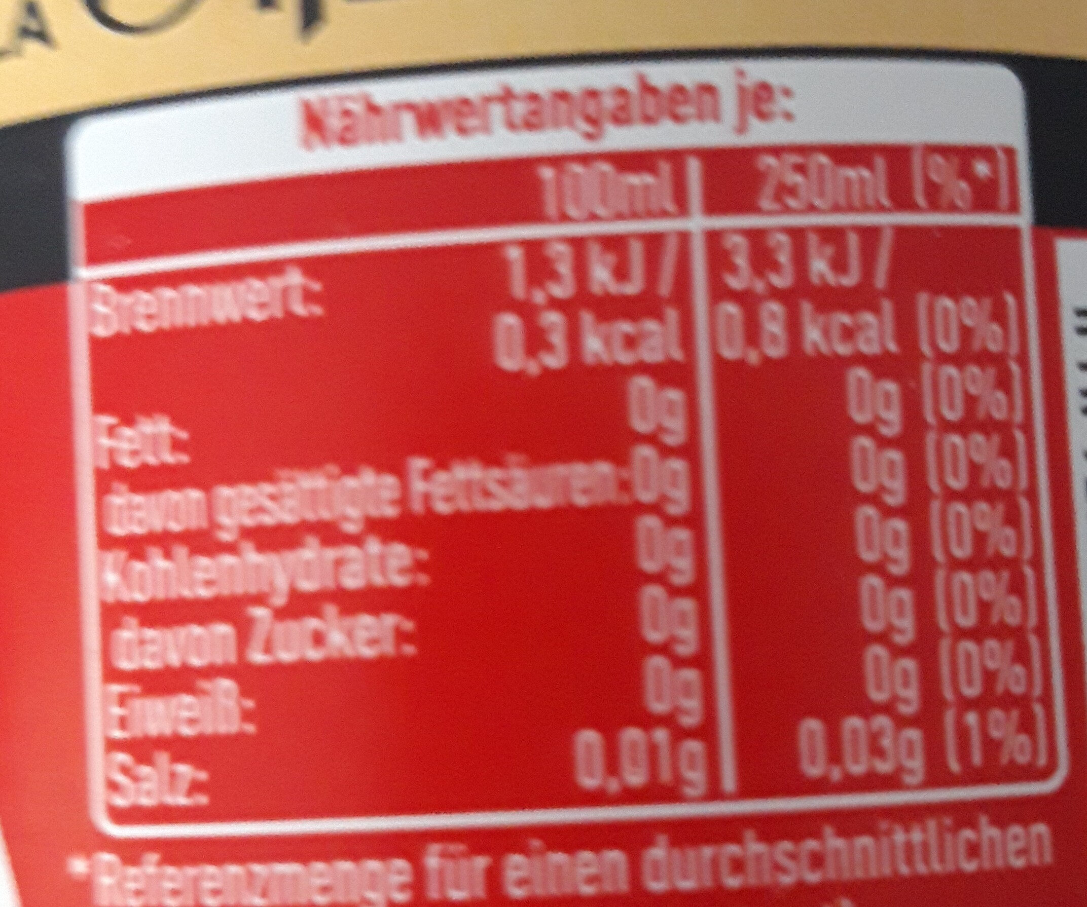 Coca vanille sans sucre - Informations nutritionnelles - fr