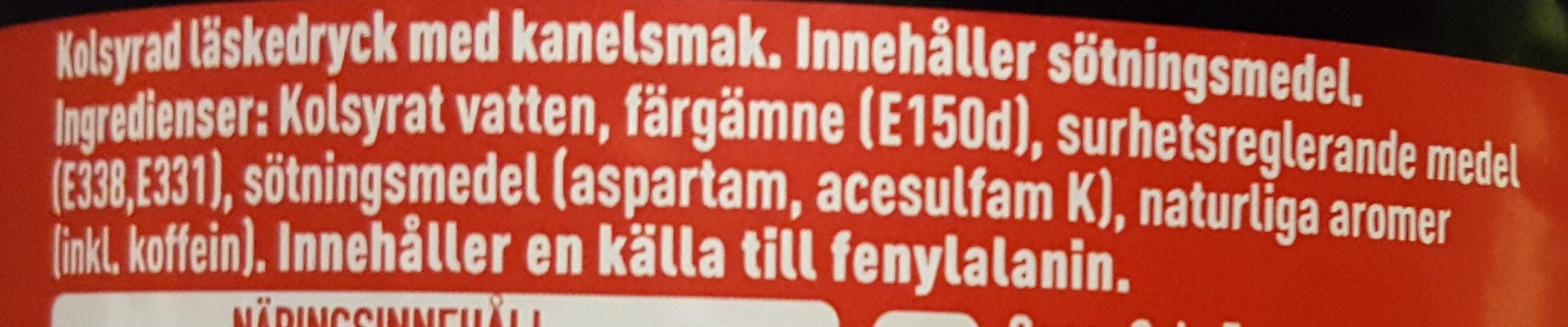 Coca-Cola Zero Sugar Cinnamon Limited Edition - Ingredients