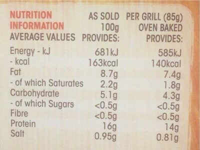 Original chicken chargrill - Nutrition facts - en