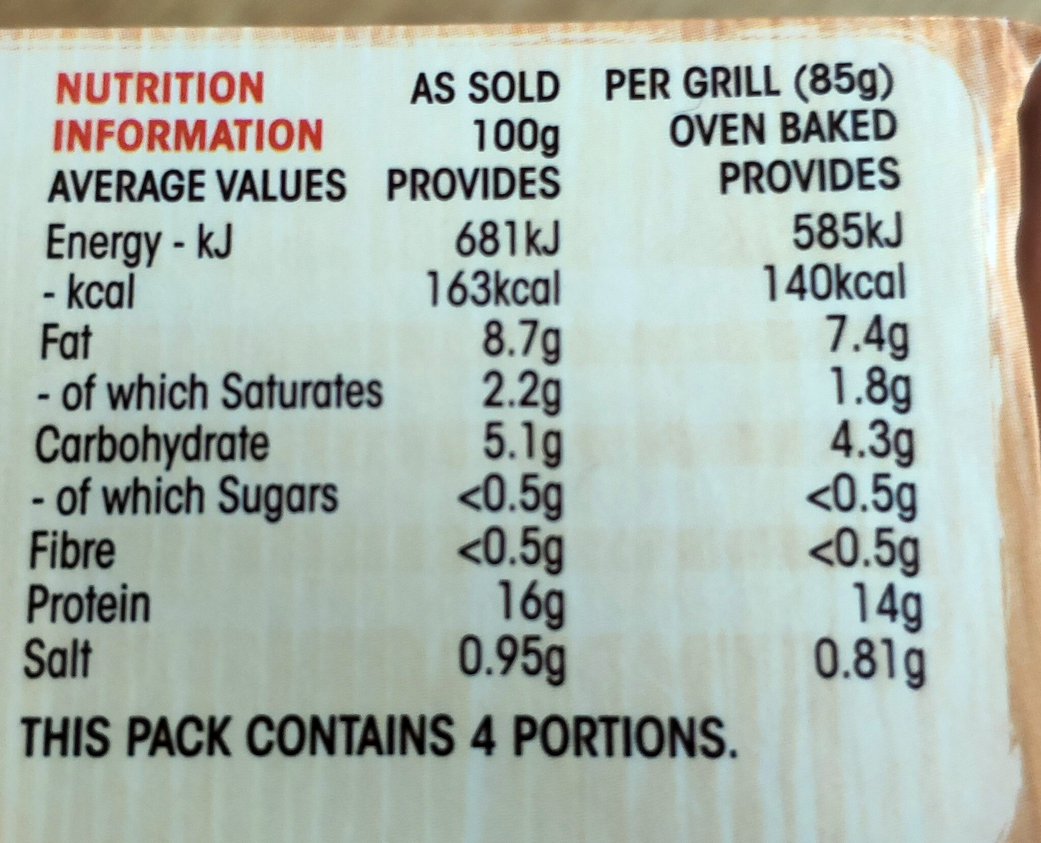 Original Chicken Chargrills - Nutrition facts - en