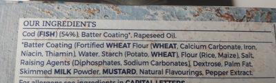 Battered Cod Large Fillets - Ingredients