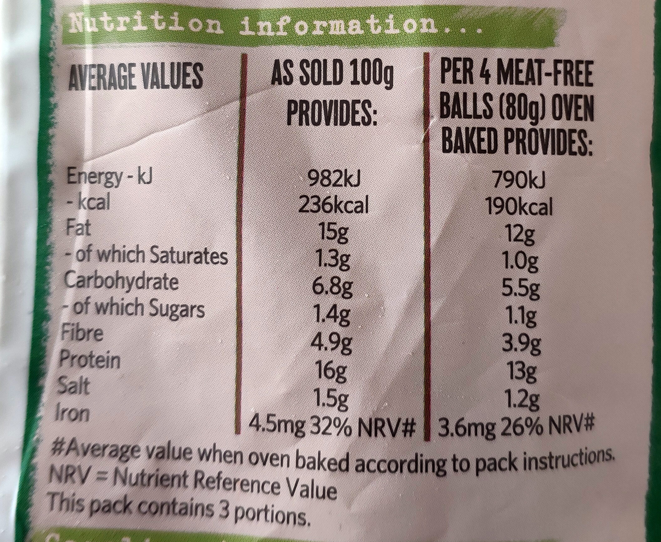 Meat-Free Meatballs - Nutrition facts - en